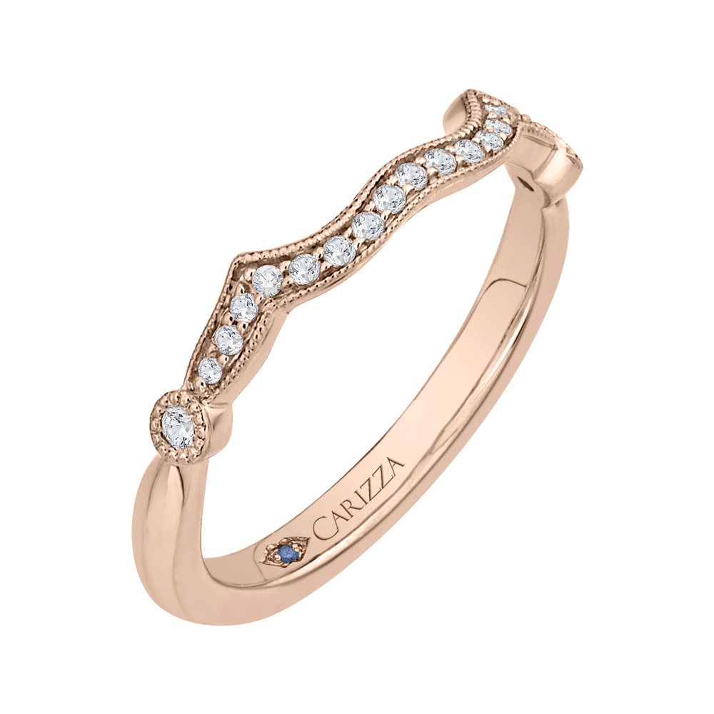 Round Diamond Wedding Band In 14K Rose Gold Wedding Band CARIZZA