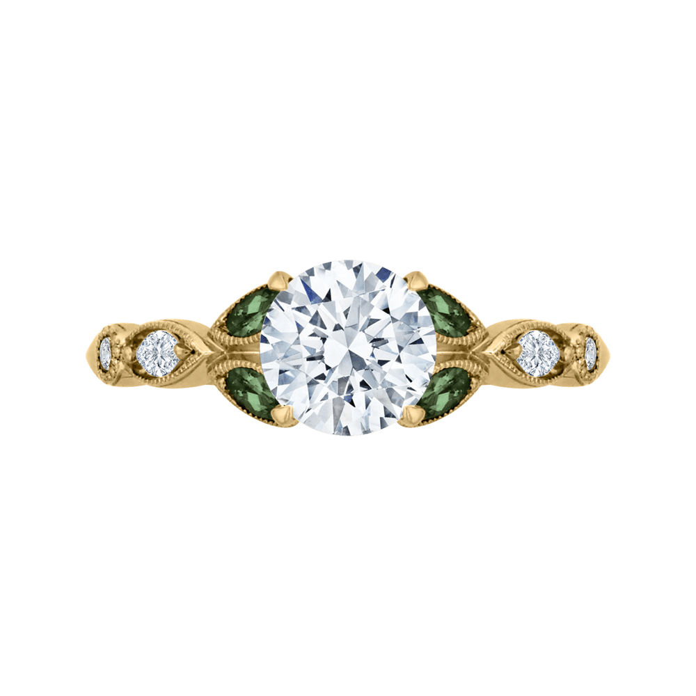 14K Yellow Gold Round Diamond and Green Tsavorite Engagement Ring (Semi Mount) Engagement Ring CARIZZA