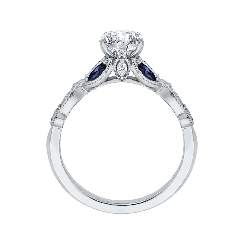 14K White Gold Round Diamond Engagement Ring with Sapphire (Semi Mount) Engagement Ring CARIZZA