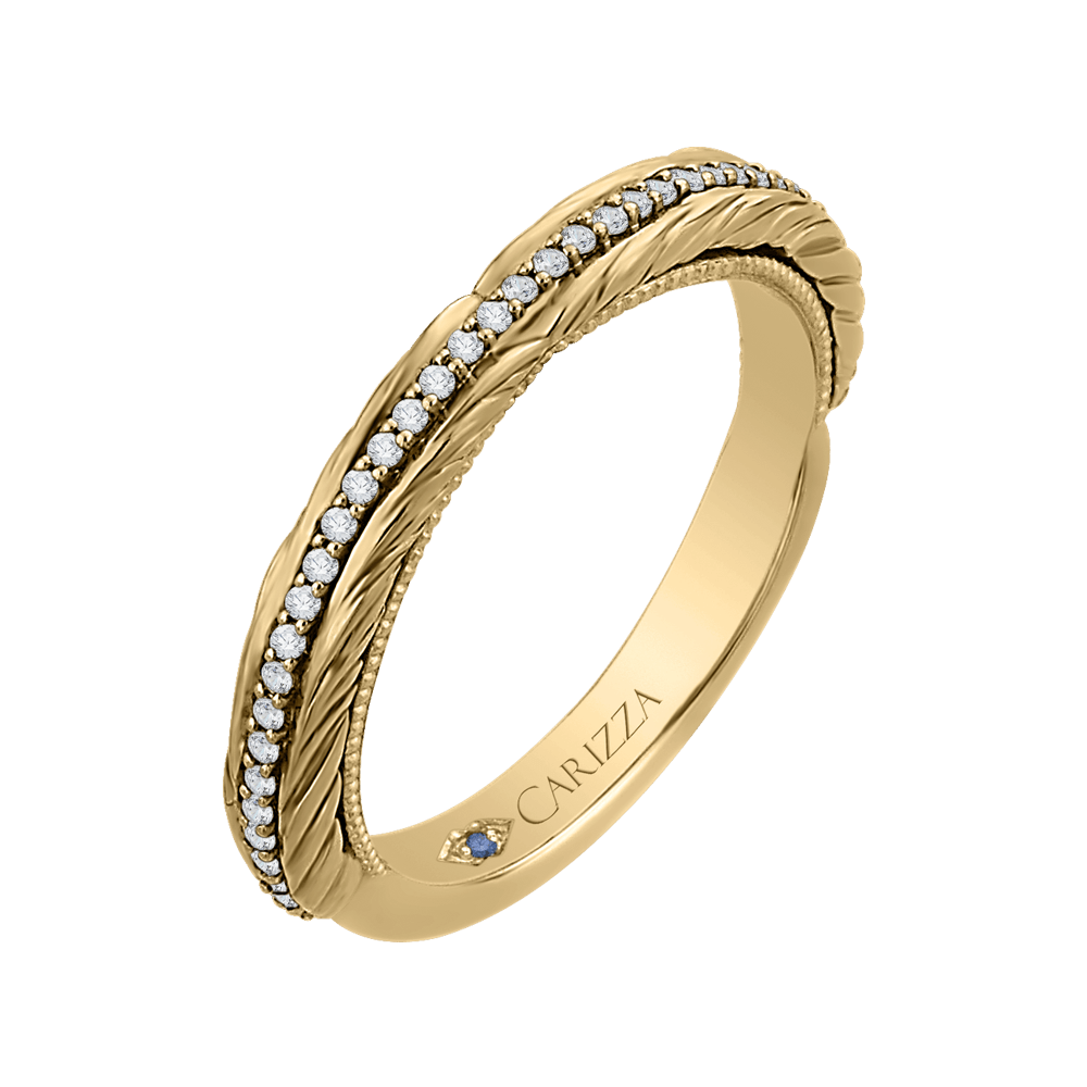 Round Diamond Wedding Band In 14K Yellow Gold Wedding Band CARIZZA