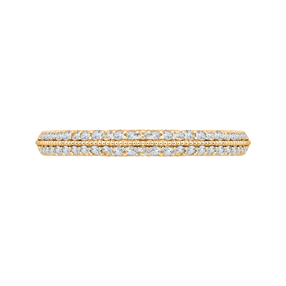 Round Diamond Half Eternity Wedding Band In 14K Yellow Gold Wedding Band CARIZZA
