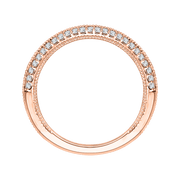 14K Rose Gold Round Diamond Half Eternity Wedding Band
