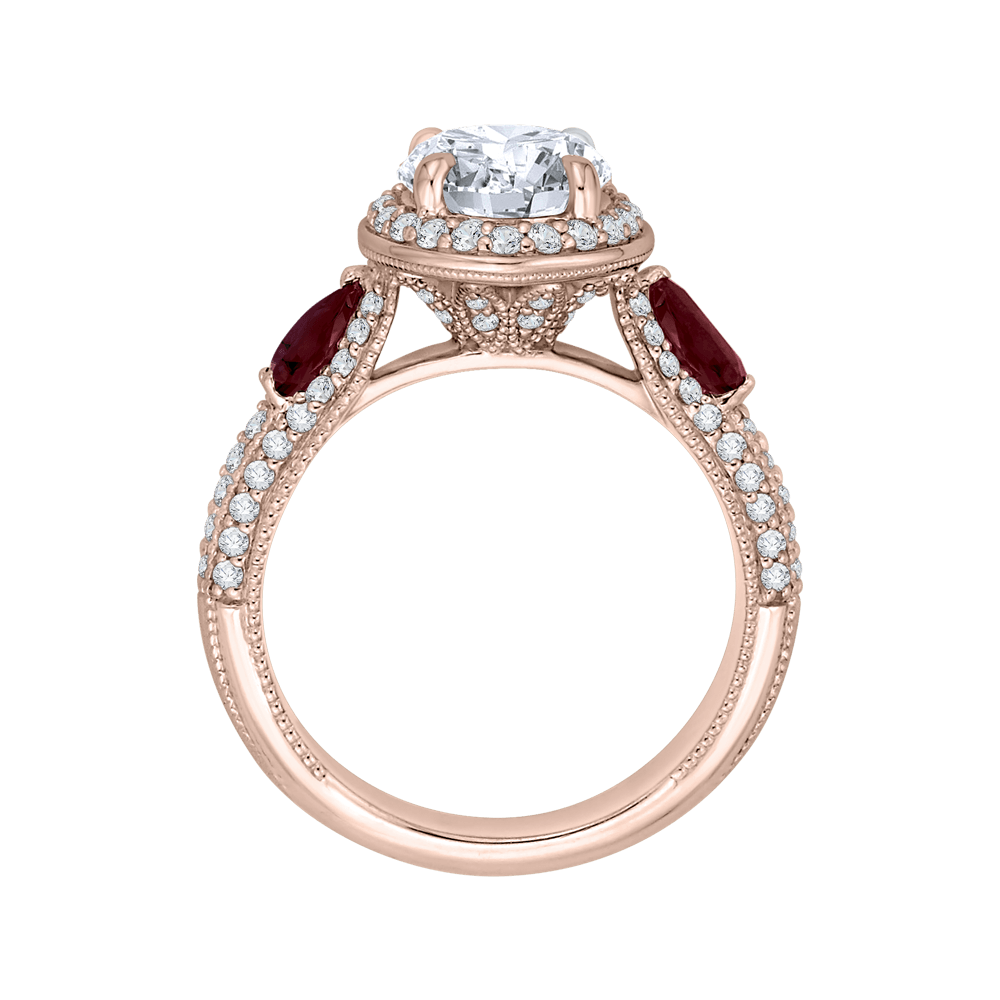 Round Diamond and Ruby Engagement Ring In 14K Rose Gold (Semi Mount) Engagement Ring CARIZZA