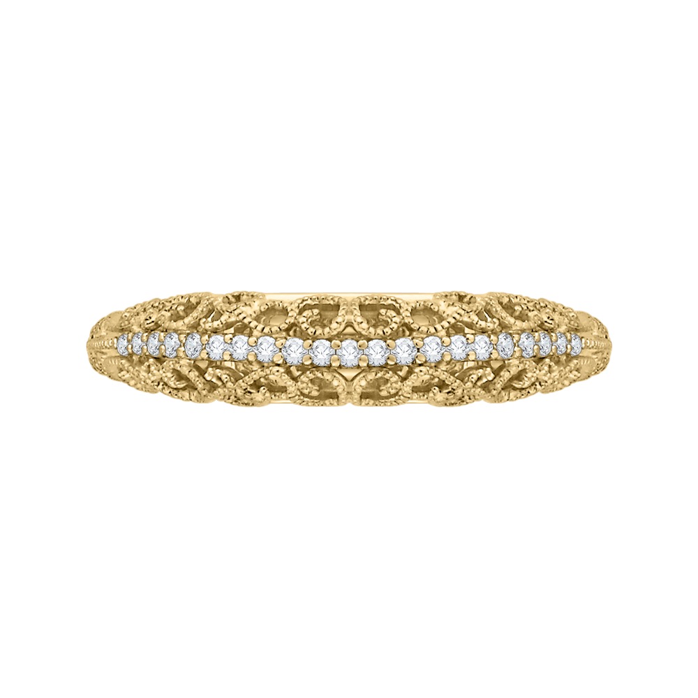 14K Yellow Gold Round Diamond Wedding Band Wedding Band CARIZZA