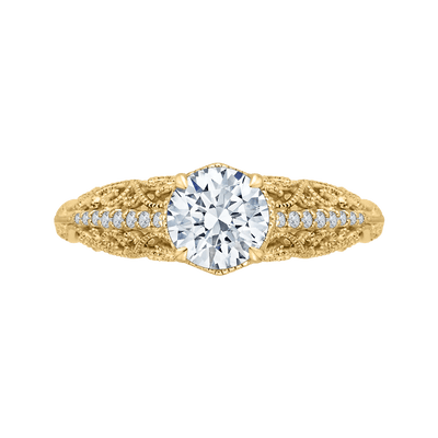14K Yellow Gold Round Diamond Engagement Ring (Semi Mount) Engagement Ring CARIZZA