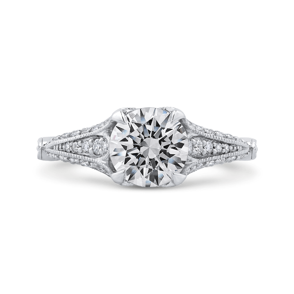Round Cut Diamond Vintage Engagement Ring In 14K White Gold (Semi Mount) Engagement Ring CARIZZA
