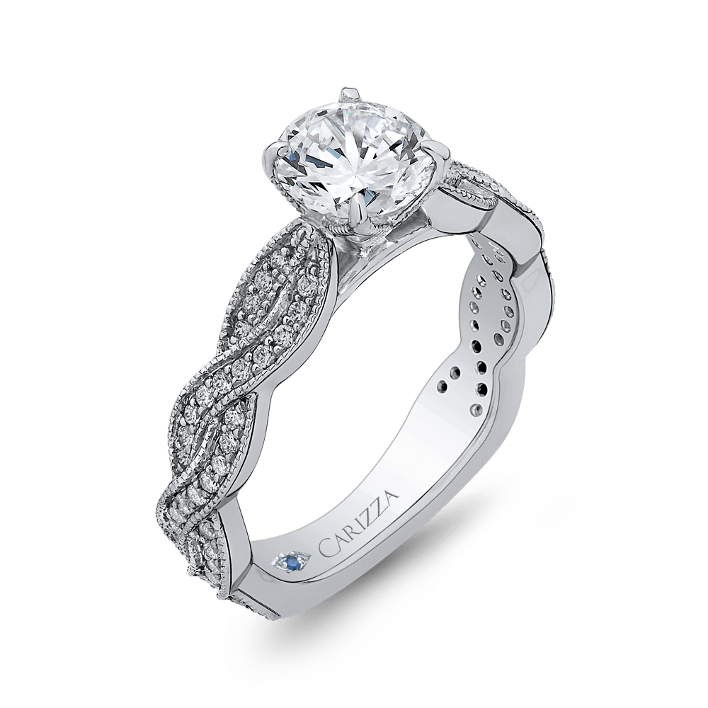 14K White Gold Round Diamond Floral Engagement Ring with Criss Cross Shank (Semi Mount) Engagement Ring CARIZZA