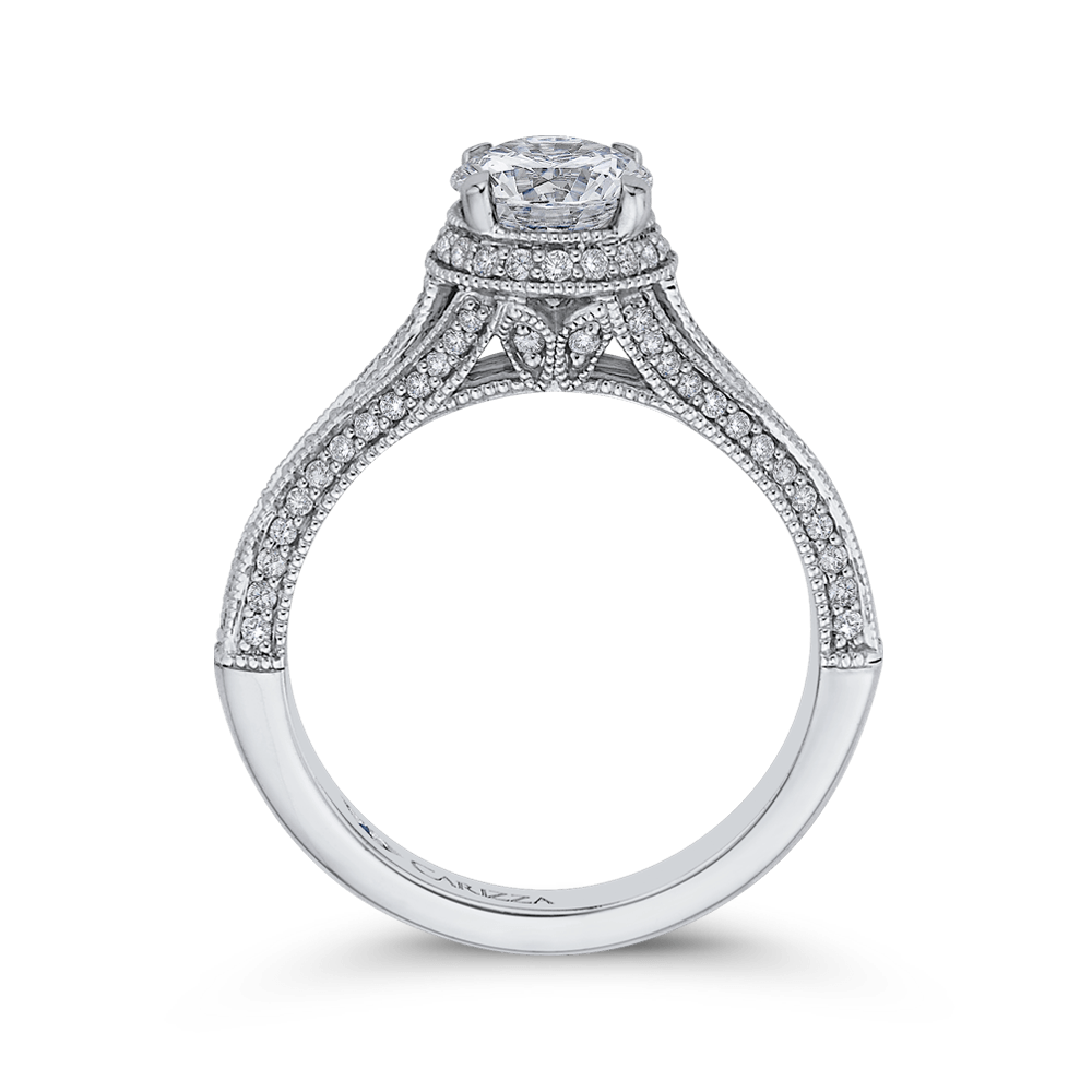 14K White Gold Round Diamond Engagement Ring with Split Shank (Semi Mount) Engagement Ring CARIZZA