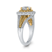 14K Two Tone Gold Round Diamond Double Halo Engagement Ring with Split Shank (Semi Mount) Engagement Ring CARIZZA