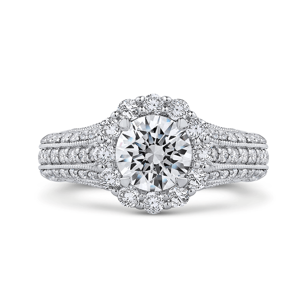 Round Diamond Halo Engagement Ring with Split Shank In 14K White Gold (Semi Mount) Engagement Ring CARIZZA