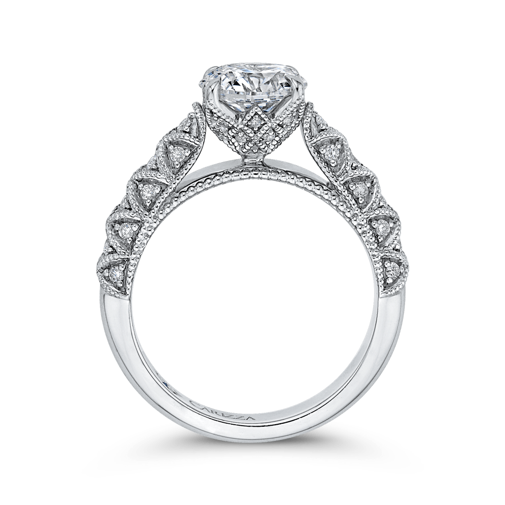 14K White Gold Round Diamond Cathedral Style Engagement Ring (Semi Mount) Engagement Ring CARIZZA