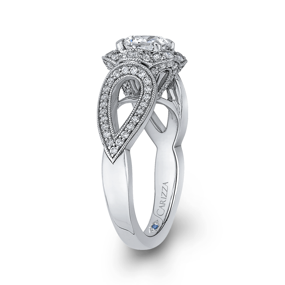 14K White Gold Round Diamond Floral Halo Engagement Ring with Split Shank (Semi Mount) Engagement Ring CARIZZA
