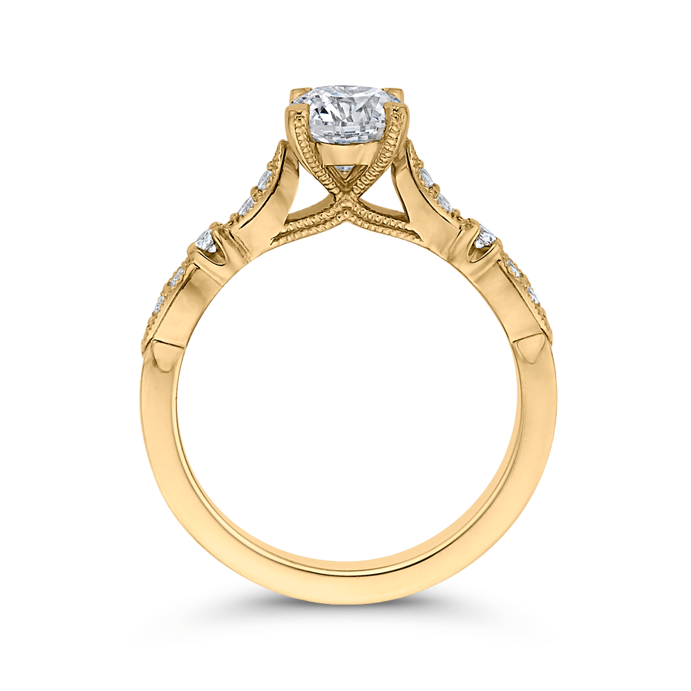 14K Yellow Gold Round Diamond Vintage Engagement Ring (Semi Mount) Engagement Ring CARIZZA