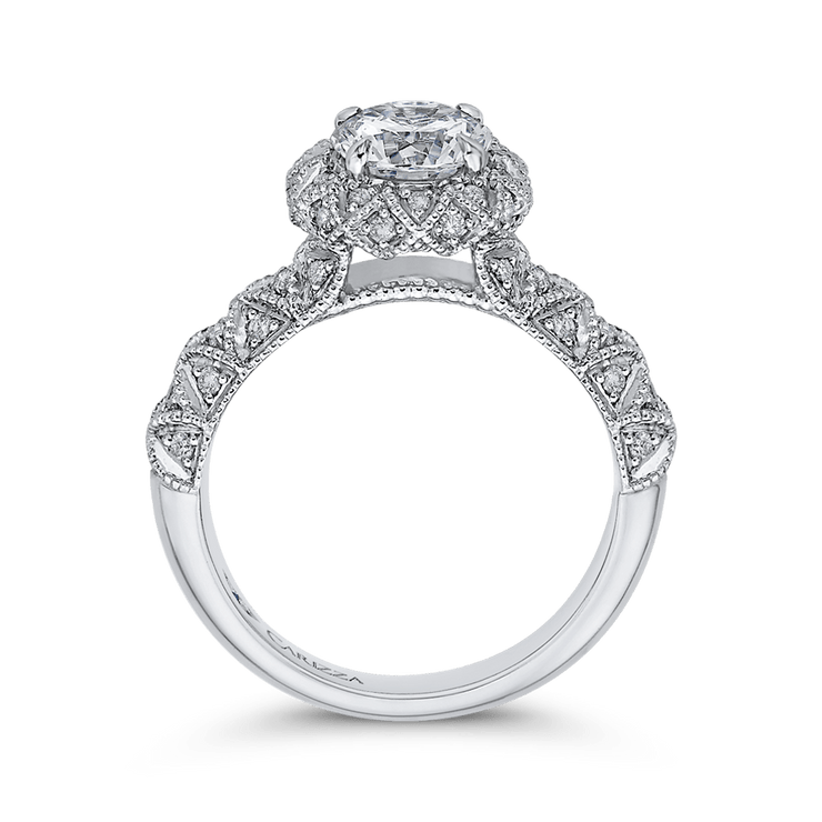14K White Gold Round Cut Diamond Flower Halo Engagement Ring (Semi Mount) Engagement Ring CARIZZA