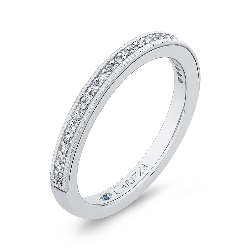 14K White Gold Round Diamond Half Eternity Wedding Band Wedding Band CARIZZA