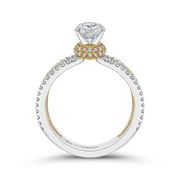 14K Two Tone Gold Round Diamond Engagement Ring with Split Shank (Semi Mount) Engagement Ring CARIZZA