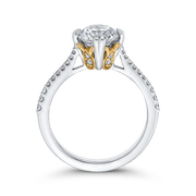 14K Two Tone Gold Round Diamond Floral Engagement Ring (Semi Mount) Engagement Ring CARIZZA