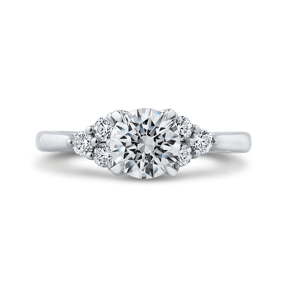 14K White Gold Round Diamond Classic Engagement Ring (Semi Mount) Engagement Ring CARIZZA