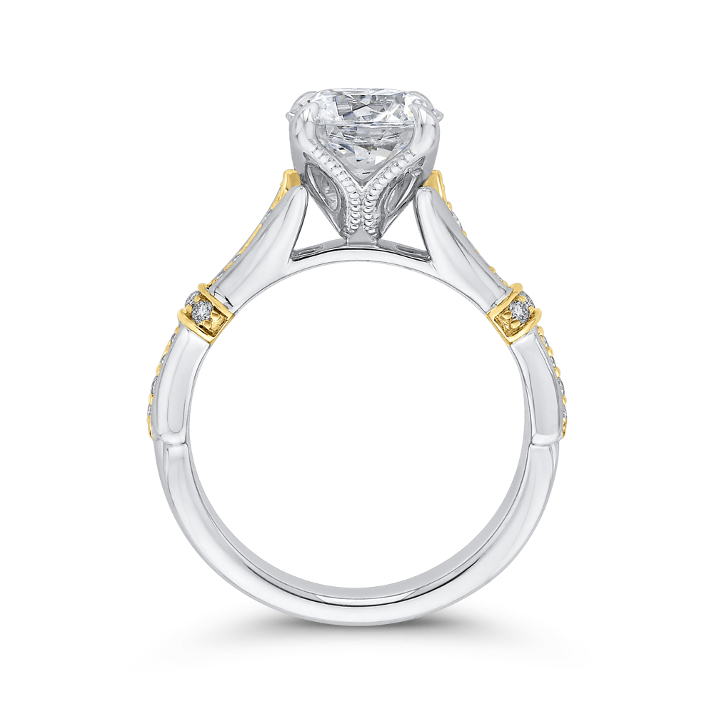 14K Two Tone Gold Round Cut Diamond Floral Engagement Ring (Semi Mount) Engagement Ring CARIZZA