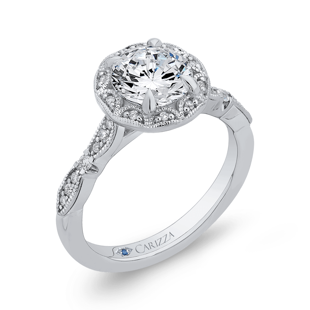 14K White Gold Round Diamond Halo Engagement Ring (Semi Mount) Engagement Ring CARIZZA