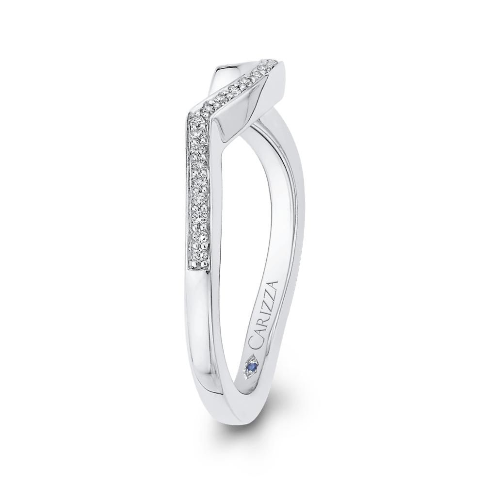 Round Diamond Wedding Band In 14K White Gold Wedding Band CARIZZA