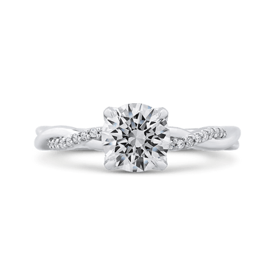 14K White Gold Round Diamond Engagement Ring with Criss Cross Shank (Semi Mount)