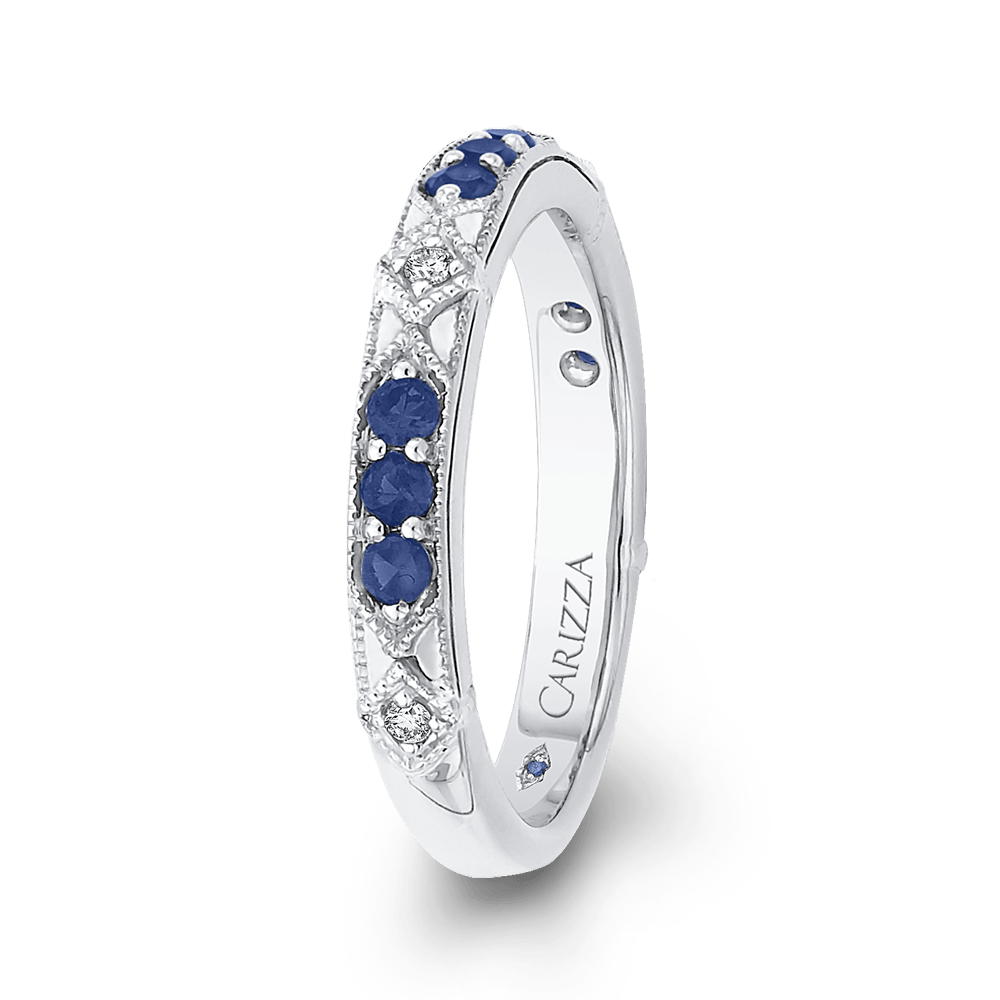 14K White Gold Round Diamond and Sapphire Wedding Band Wedding Band CARIZZA