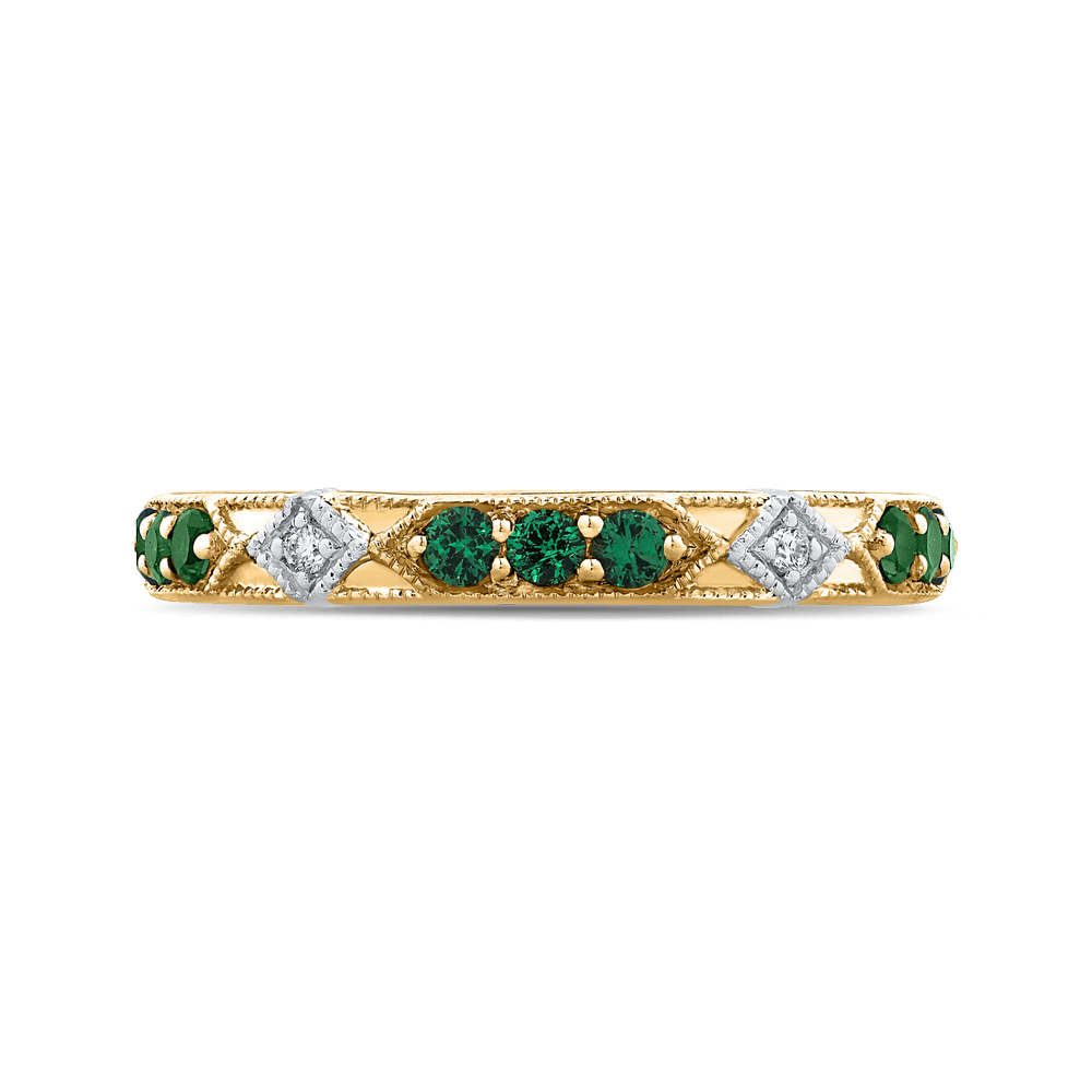 14K Two Tone Gold Round Diamond and Green Tsavorite Wedding Band Wedding Band CARIZZA