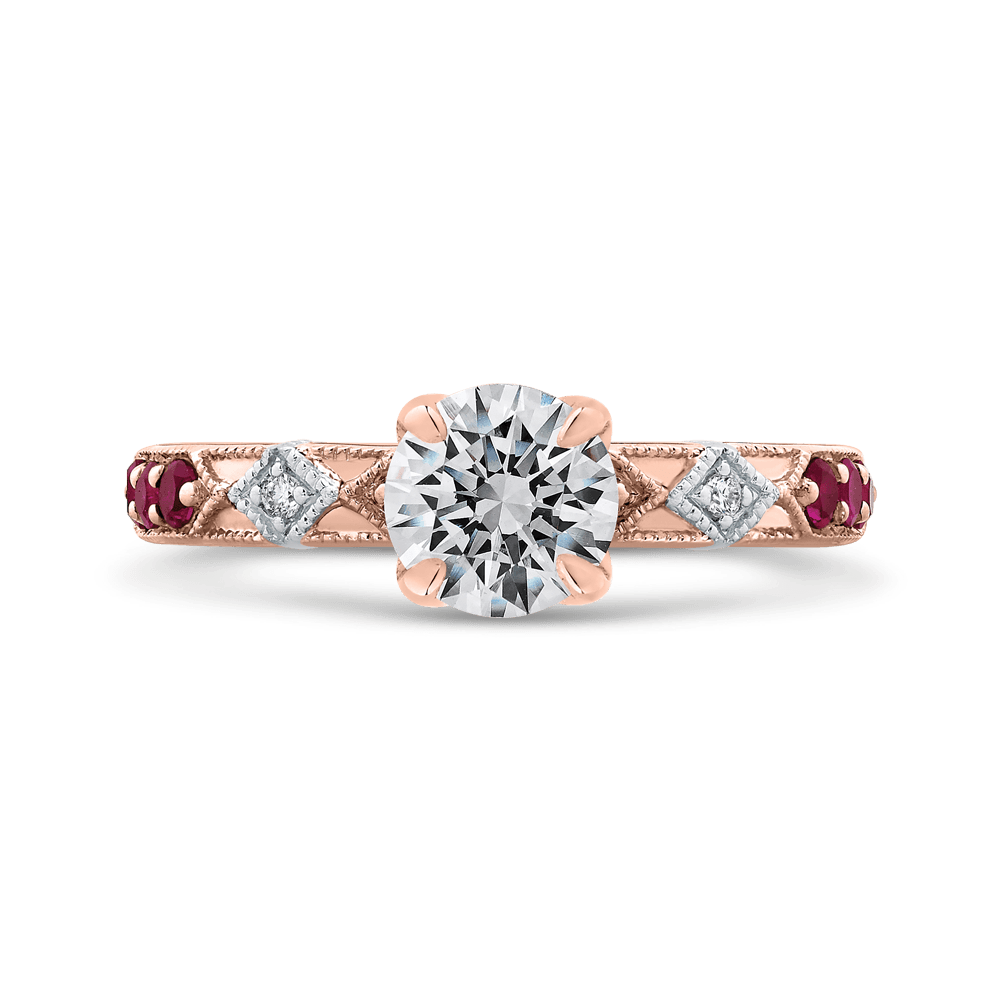 14K Two Tone Gold Round Diamond and Ruby Engagement Ring (Semi Mount) Engagement Ring CARIZZA
