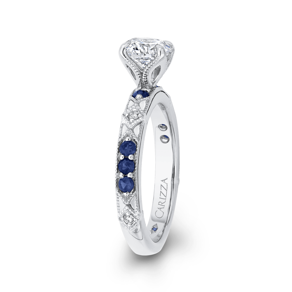 14K White Gold Round Diamond and Sapphire Engagement Ring (Semi Mount) Engagement Ring CARIZZA
