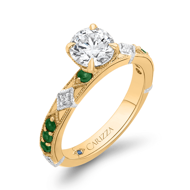 14K Two Tone Gold Round Diamond and Green Tsavorite Engagement Ring (Semi Mount) Engagement Ring CARIZZA