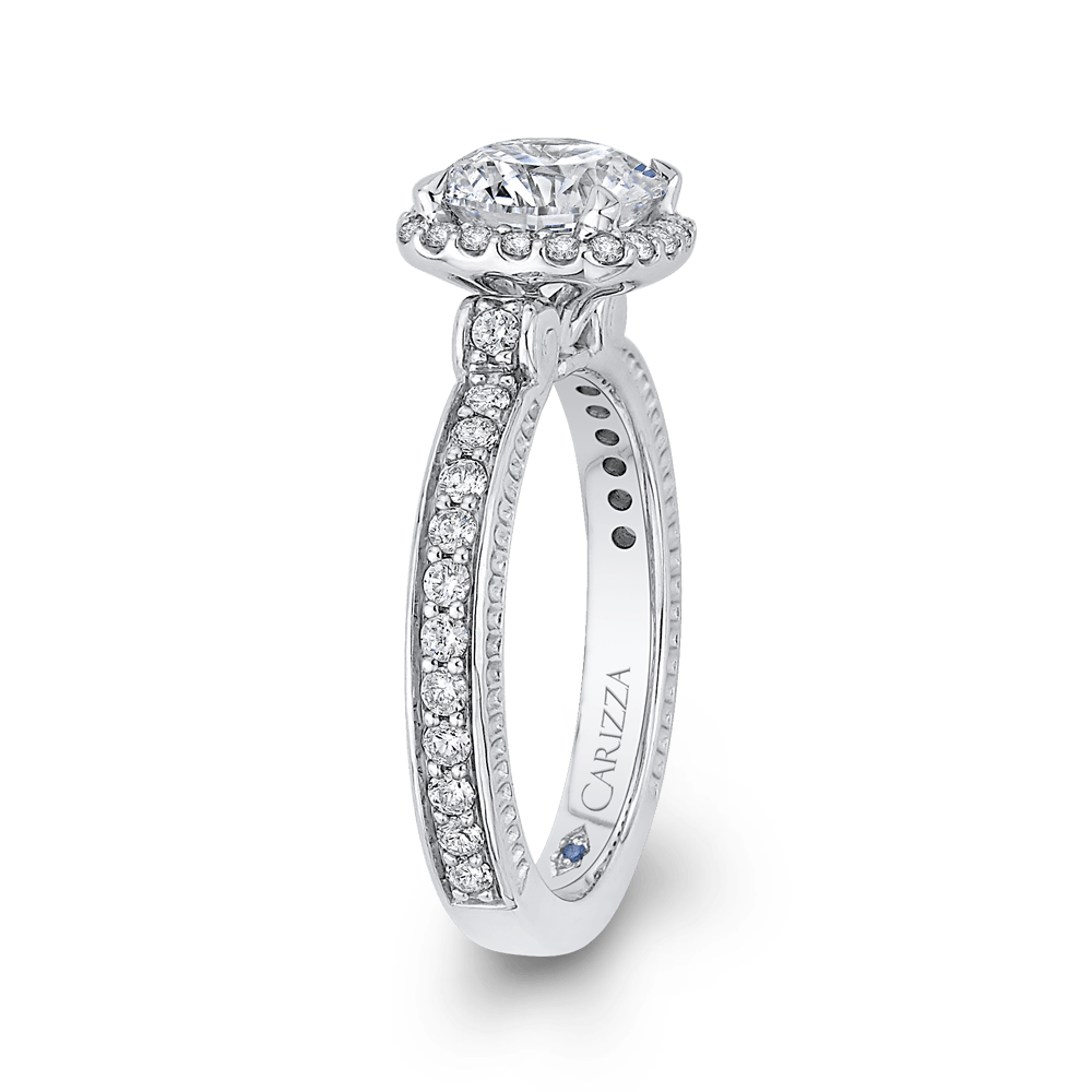 Round Diamond Halo Engagement Ring In 14K White Gold (Semi Mount) Engagement Ring CARIZZA