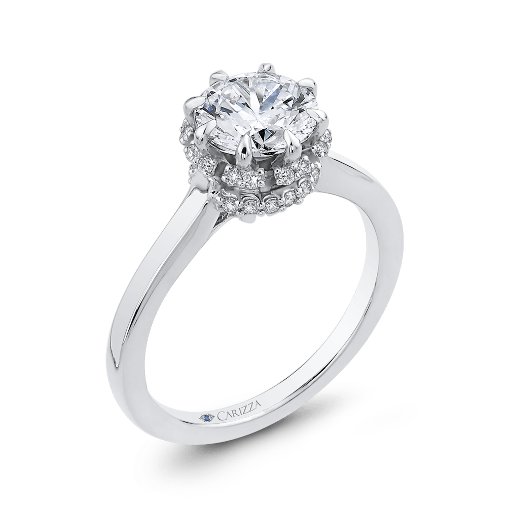 14K White Gold Round Cut Diamond Engagement Ring (Semi Mount) Engagement Ring CARIZZA