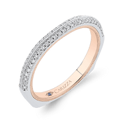 14K Two Tone Gold Round Cut Diamond Half Eternity Wedding Band Wedding Band CARIZZA