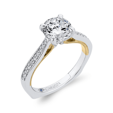 Image of 14K-Two-Tone-Gold-Round-Cut-Diamond-Engagement-Ring-(Semi-Mount)