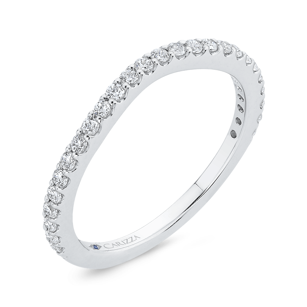 Round Cut Diamond Wedding Band In 14K White Gold Wedding Band CARIZZA