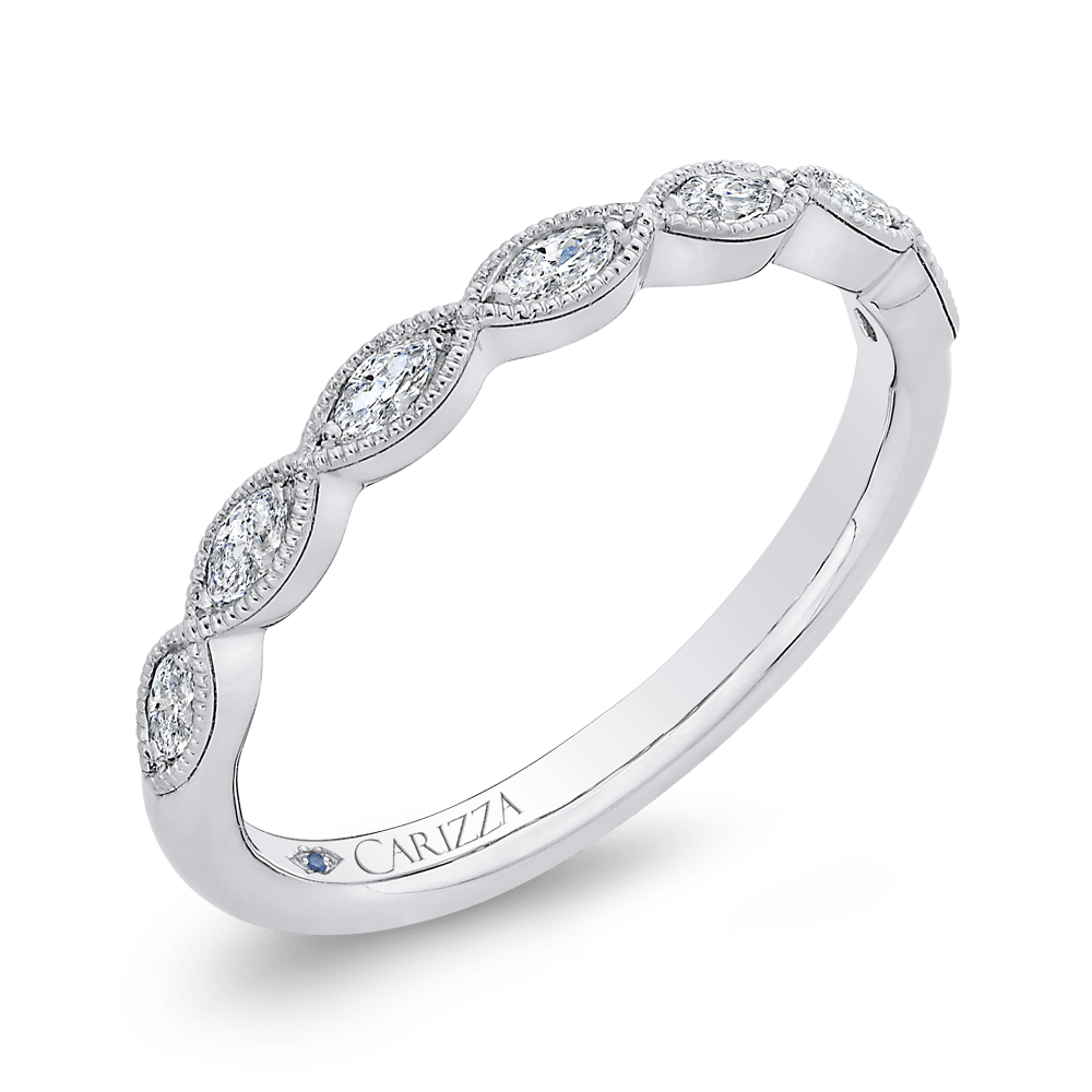14K White Gold Marquise Diamond Wedding Band Wedding Band CARIZZA