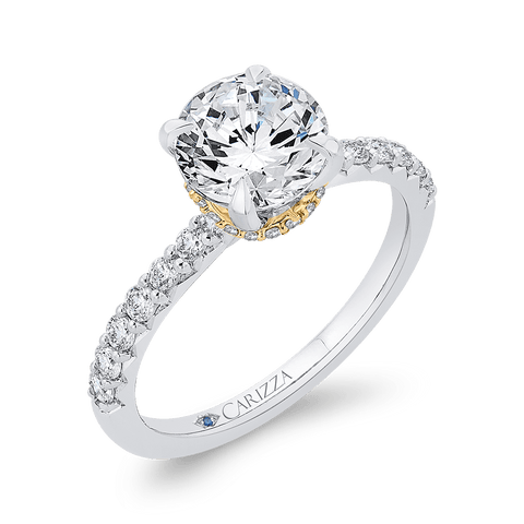 Image of 14K-Two-Tone-Gold-Round-Diamond-Engagement-Ring-(Semi-Mount)