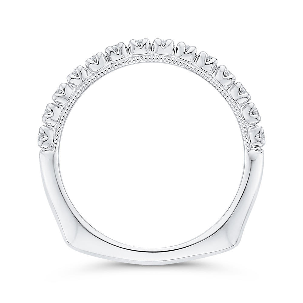 Round Diamond Half Eternity Wedding Band In 14K White Gold with Euro Shank Wedding Band CARIZZA