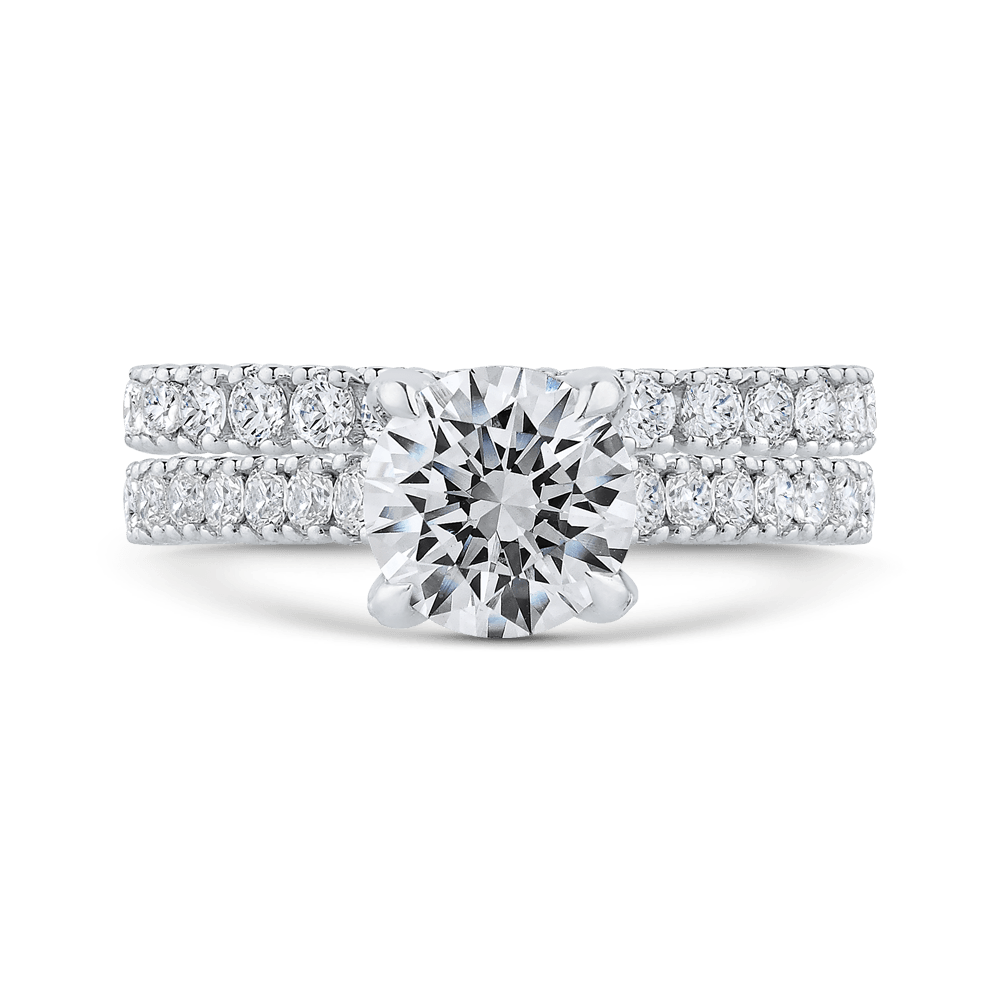 14K White Gold Round Diamond Engagement Ring with Euro Shank (Semi Mount) Engagement Ring CARIZZA