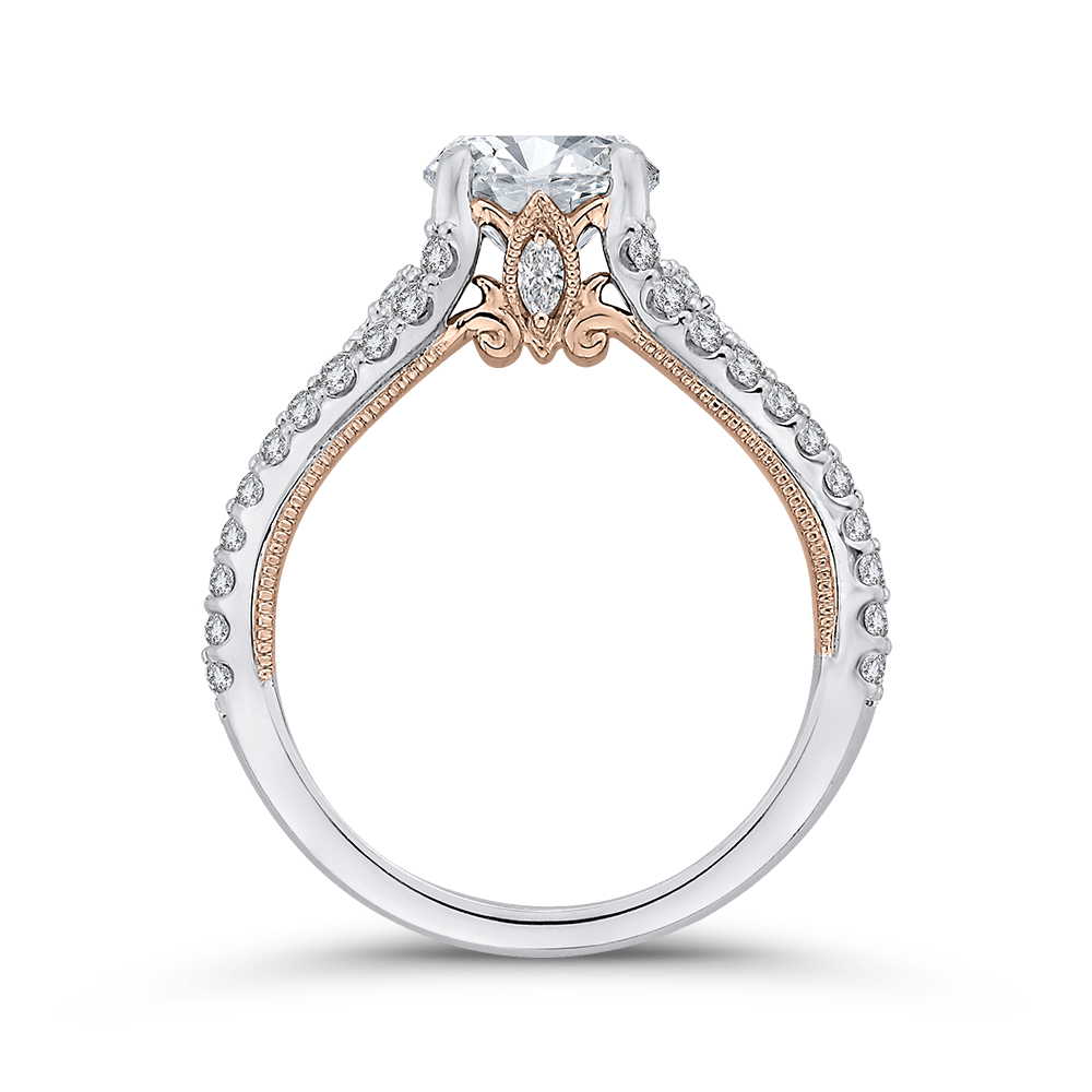 14K Two Tone Gold Round Cut Diamond Engagement Ring (Semi Mount) Engagement Ring CARIZZA