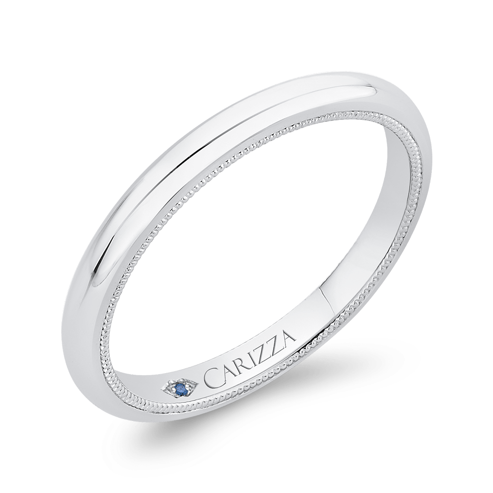 Plain Wedding Band In 14K White Gold Wedding Band CARIZZA