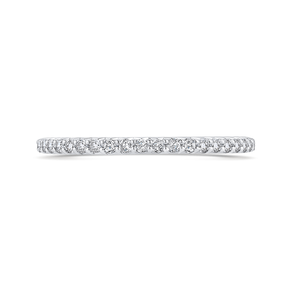 Round Cut Diamond Half Eternity Wedding Band In 14K White Gold Wedding Band CARIZZA