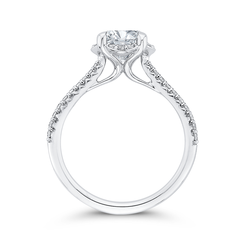 14K White Gold Round Diamond Engagement Ring (Semi Mount) Engagement Ring CARIZZA