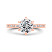 14K Rose Gold Round Diamond Engagement Ring (Semi Mount) Engagement Ring CARIZZA