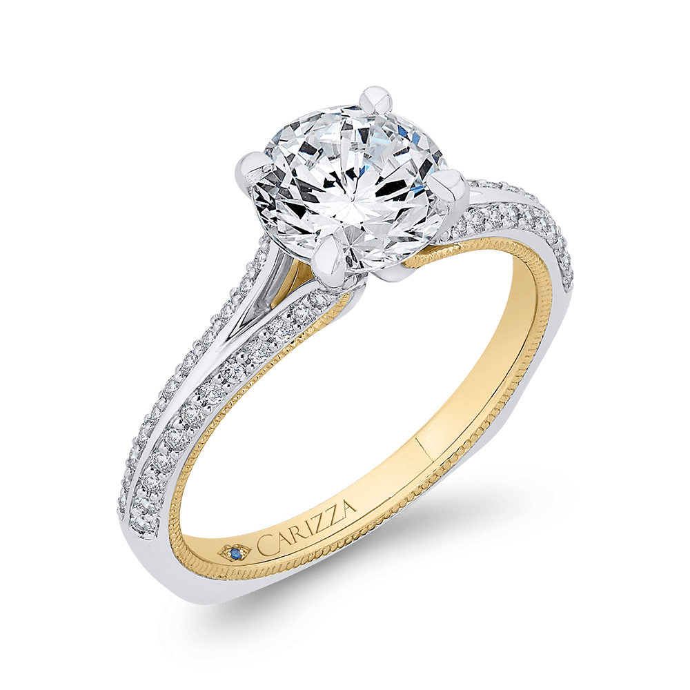 14K Two Tone Gold Round Diamond Engagement Ring with Split Side Euro Shank (Semi Mount) Engagement Ring CARIZZA