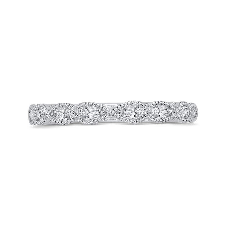14K White Gold Pear and Round Diamond Half Eternity Wedding Band Wedding Band CARIZZA