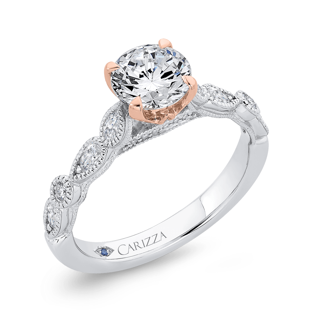 14K Two Tone Gold Round Diamond Engagement Ring (Semi Mount) Engagement Ring CARIZZA
