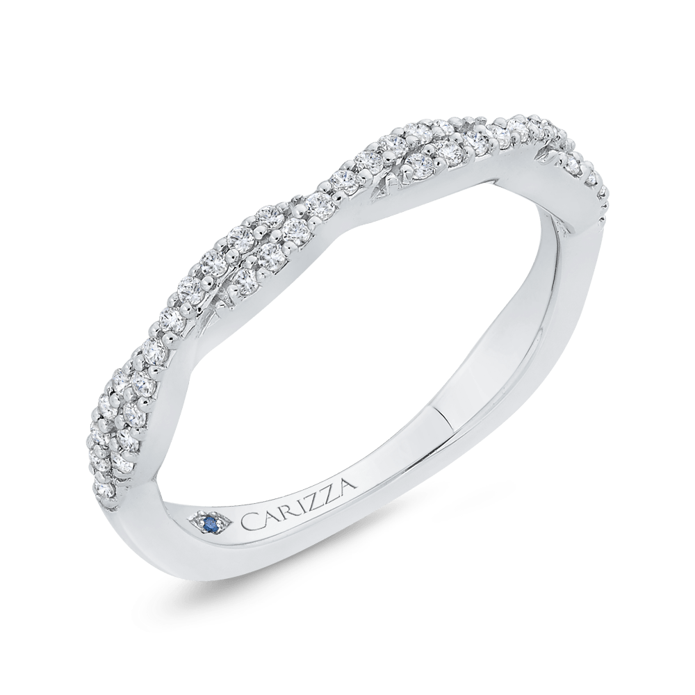 Round Cut Diamond Crossover Shank Half Eternity Wedding Band In 14K White Gold Wedding Band CARIZZA