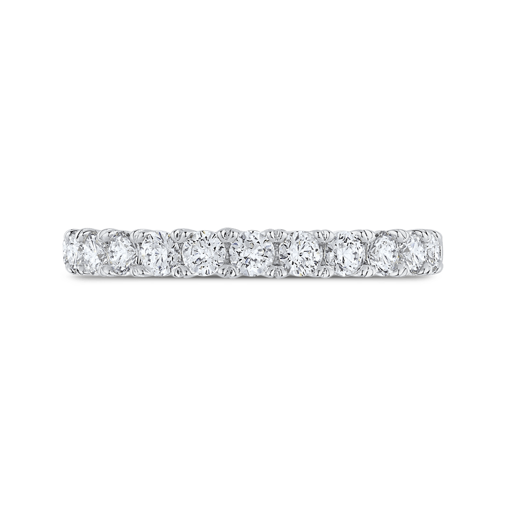 14K White Gold Half Eternity Round Diamond Wedding Band Wedding Band CARIZZA
